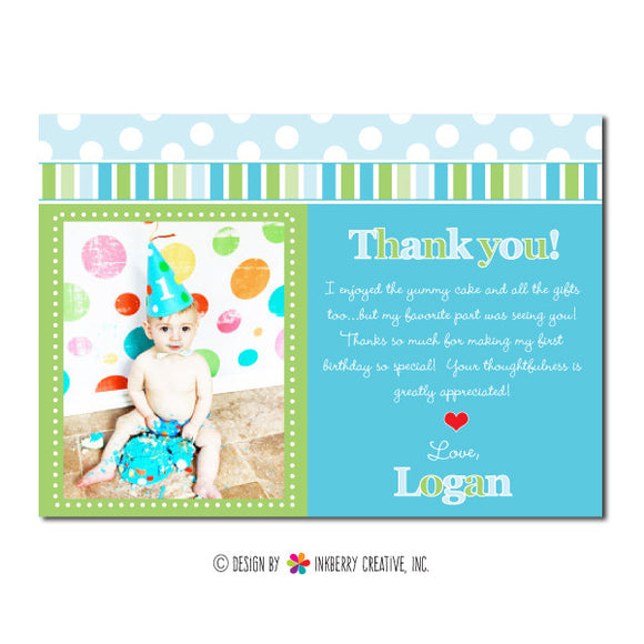 Blue & Green Polka Dot Stripe Boy's Photo Thank You Note - inkberrycards