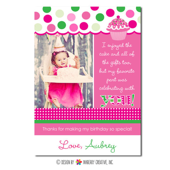 Pink & Green Cupcake Girl's Photo Thank You Note - inkberrycards