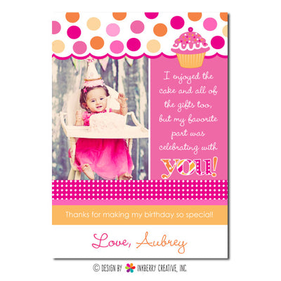 Pink & Orange Cupcake Girl's Photo Thank You Note - inkberrycards