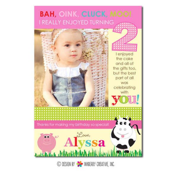 Fun on the Farm - Girl's Photo Thank You Note - inkberrycards