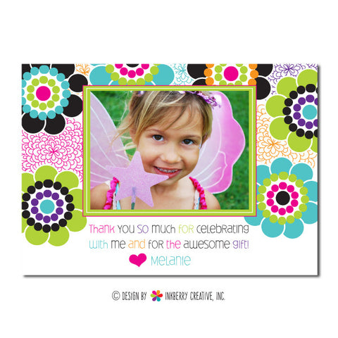 Funky Floral Girl's Photo Thank You Note