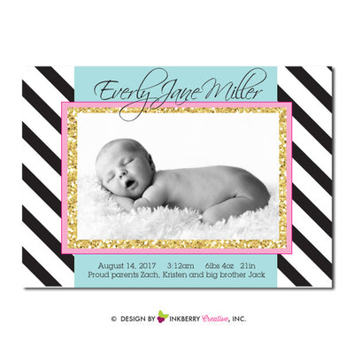 Glam Sparkle - Baby Girl Photo Birth Announcement - inkberrycards
