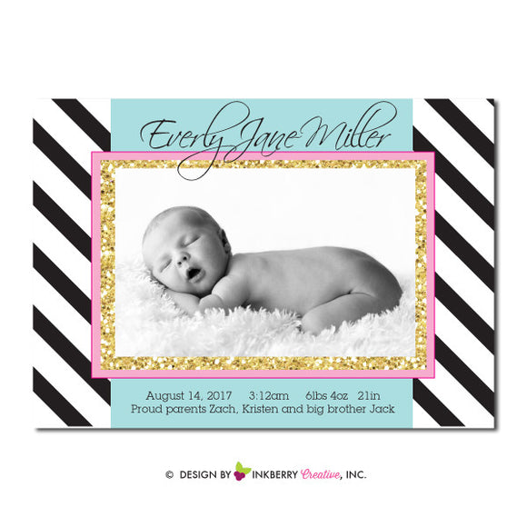 Glam Sparkle - Baby Girl Photo Birth Announcement
