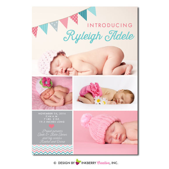 Baby Bunting - Baby Girl Photo Birth Announcement - inkberrycards