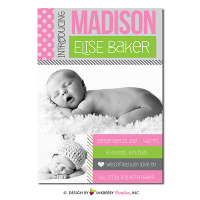 Color Blocks - Baby Girl Photo Birth Announcement - inkberrycards