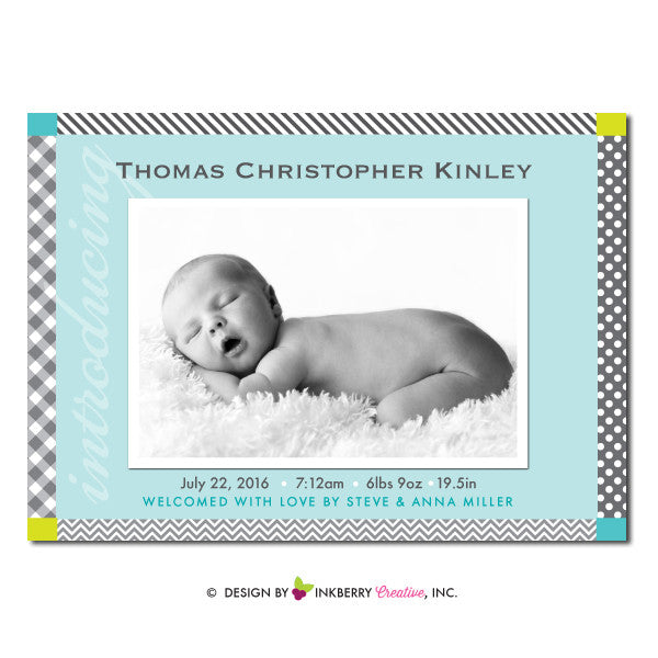 Prints and Patterns - Baby Boy Photo Birth Announcement