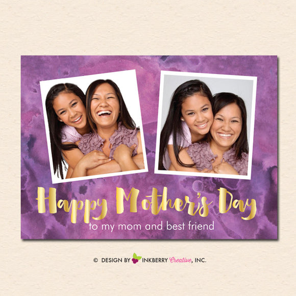 Watercolor Gold Mother's Day Photo Card - inkberrycards