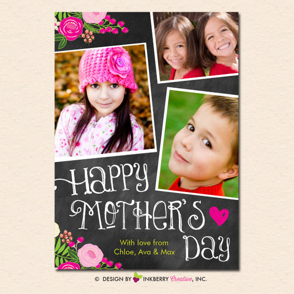 Chalkboard Floral Mother's Day Photo Card - inkberrycards