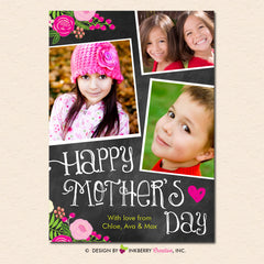 Chalkboard Floral Mother's Day Photo Card