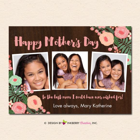 Rustic Floral Woodgrain - Mother's Day Photo Card - inkberrycards