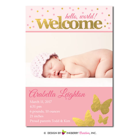 Gold Butterfly - Baby Girl Photo Birth Announcement