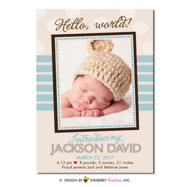Hello World - Baby Boy Photo Birth Announcement