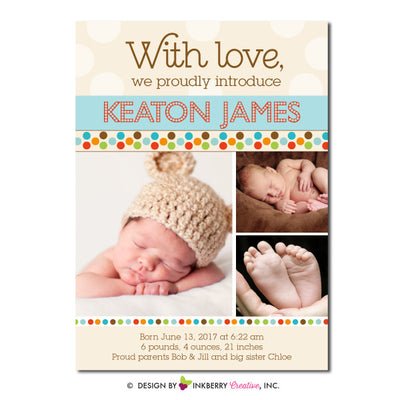 Mod Dot - Baby Boy Photo Birth Announcement - inkberrycards