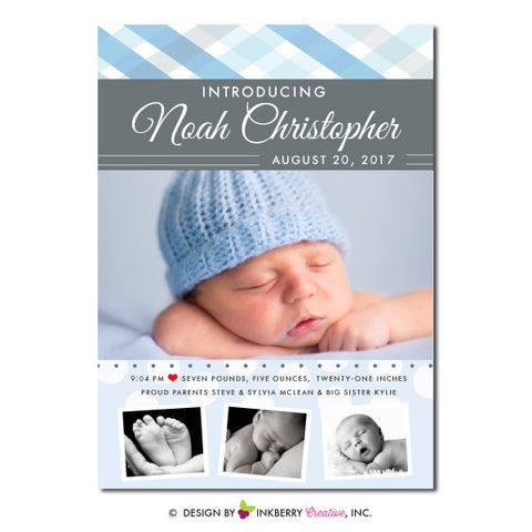 Plaid Bands - Baby Boy Photo Birth Announcement