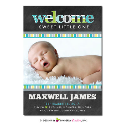 Chalkboard Patterns - Baby Boy Photo Birth Announcement - inkberrycards