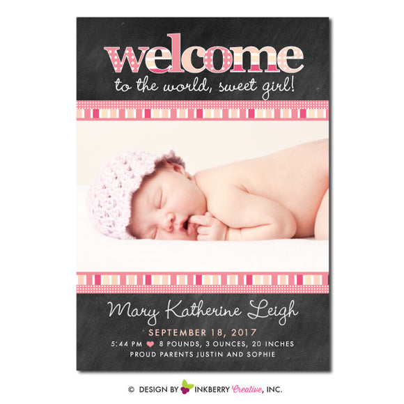 Chalkboard Patterns - Baby Girl Photo Birth Announcement - inkberrycards