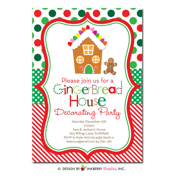 Christmas Cookie Party Invite.Gingerbread House Decorating Party Invitation