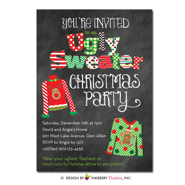 Ugly Christmas Sweater Party Invite.Ugly Christmas Sweater Party Invitation