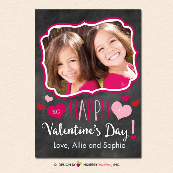 Ornate Frame Chalkboard - Valentine's Day Photo Card