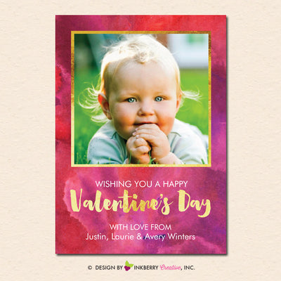 Watercolor Gold - Valentine's Day Photo Card - inkberrycards
