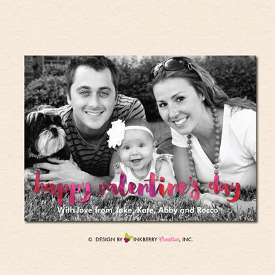 Watercolor Script Overlay - Valentine's Day Photo Card - inkberrycards