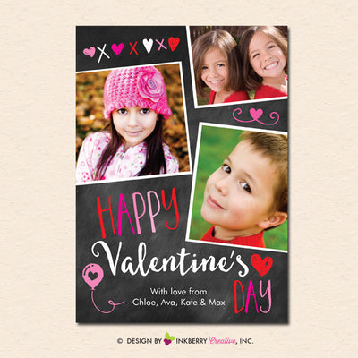 Chalkboard Doodles - Valentine's Day Photo Card - inkberrycards