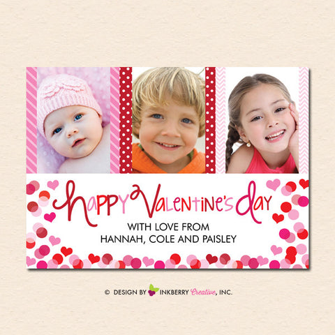 Patterns and Hearts - Valentine's Day Photo Card