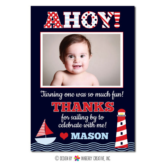 Ahoy! Boy's Nautical Photo Thank You Note - inkberrycards