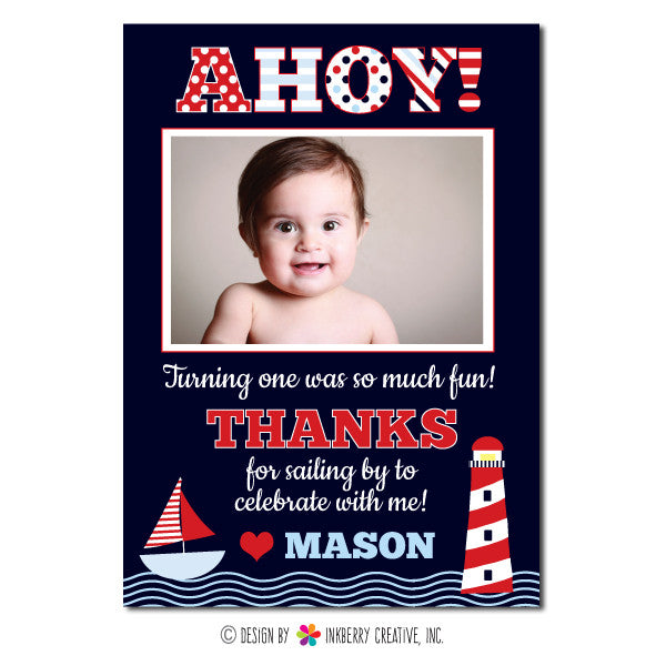 Ahoy! Boy's Nautical Photo Thank You Note
