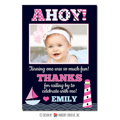 Ahoy! Girl's Nautical Photo Thank You Note - inkberrycards