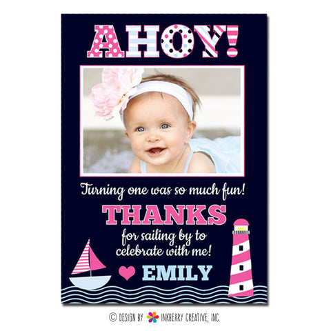 Ahoy! Girl's Nautical Photo Thank You Note