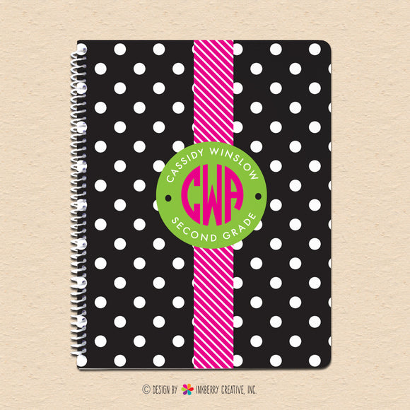 Black & White Polka Dot - Circle Monogram - Personalized, Custom Spiral Notebook - inkberrycards