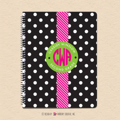 Black & White Polka Dot - Circle Monogram - Personalized, Custom Spiral Notebook