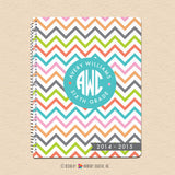 Summer Chevron - Circle Monogram Notebook
