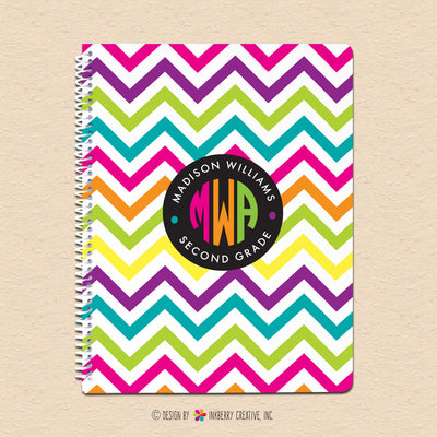 Neon Chevron - Circle Monogram Notebook - inkberrycards