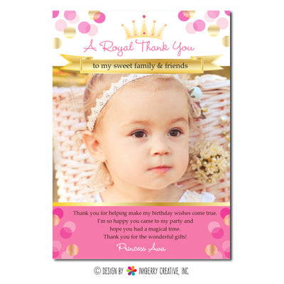 Princess Confetti Girl's Photo Thank You Note - inkberrycards
