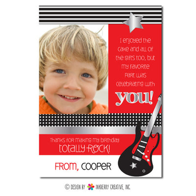 Rockstar Boy (Red) Photo Thank You Note - inkberrycards