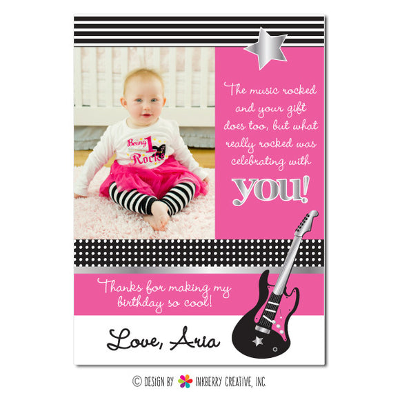 Rockstar Girl Photo Thank You Note - inkberrycards