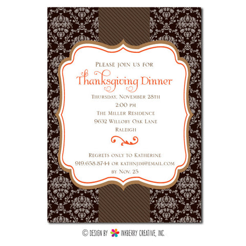 Elegant Damask Thanksgiving Dinner Invitation