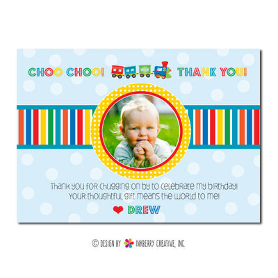 Choo Choo Train Boy's Photo Thank You Note - inkberrycards