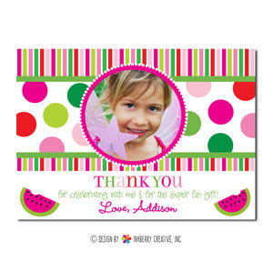 Watermelon Polka Dot Girl's Photo Thank You Note