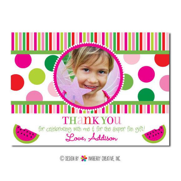 Watermelon Polka Dot Girl's Photo Thank You Note - inkberrycards