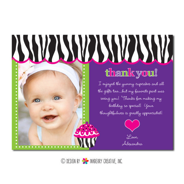 Zebra Cupcake Girl's Photo Thank You Note