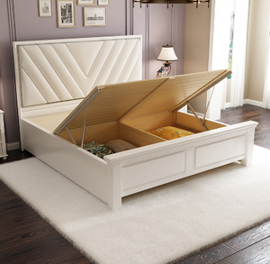 Romack Lux Solid Wood Bed Frame Tufted bedhead White
