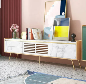 Fasaana 1.8 Marble Meter Tv Unit With Golden Legs