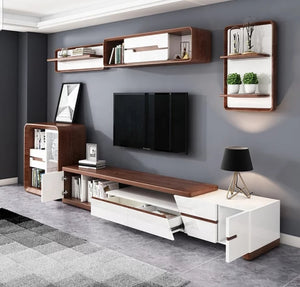 Riverwood Solid wood and High Gloss Entertainment Unit