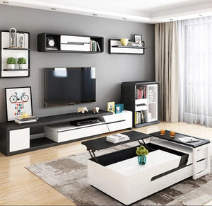 Modern Riverwood Black and White Tv Unit Entertainment unit