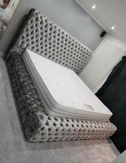 Lepaxen Ultra Tufted Super Luxury Bed Frame Silver Grey