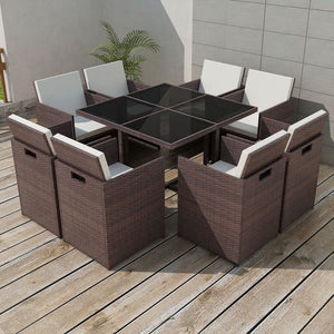 Outdoor Brown Dining Set 8 Seater
