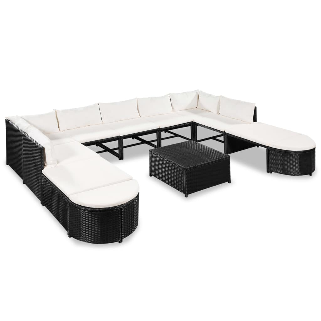 9 Seater Outdoor Large Lounge Suite White Cushions